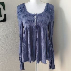 Free People Raw Edge Fitted Bodice Shirt